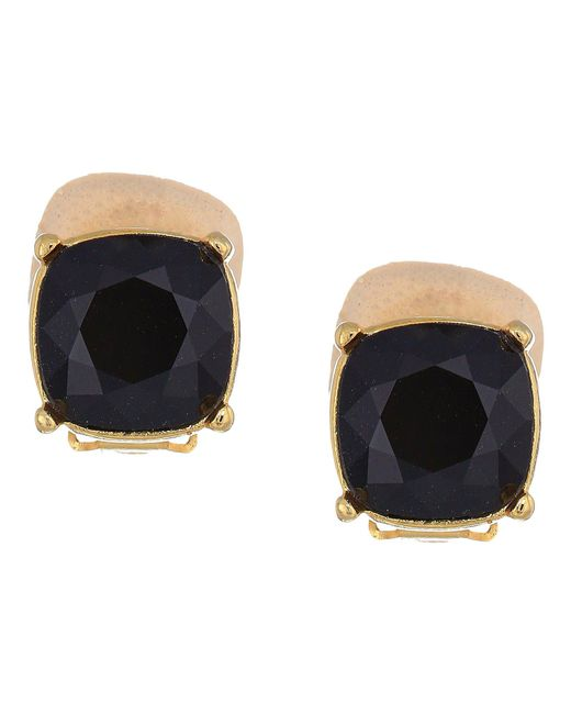 Kenneth Jay Lane - Metallic Gold Clip/jet 12mm Faceted Square Stone Earrings (gold/jet) Earring - Lyst