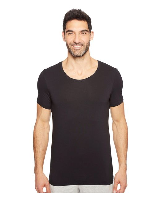 Hanro - Black Cotton Superior Short Sleeve Crew Neck Shirt (white) Men's T Shirt for Men - Lyst