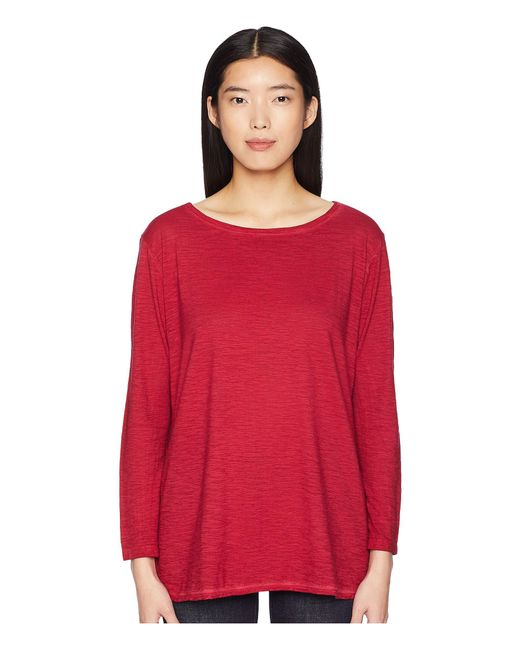 Eileen Fisher - Red Bateau Neck Tunic (radish) Women's Long Sleeve Pullover - Lyst