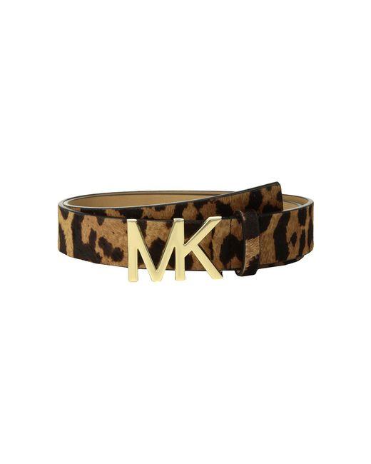 MICHAEL Michael Kors - Brown Leopard Haircalf Logo Belt - Lyst