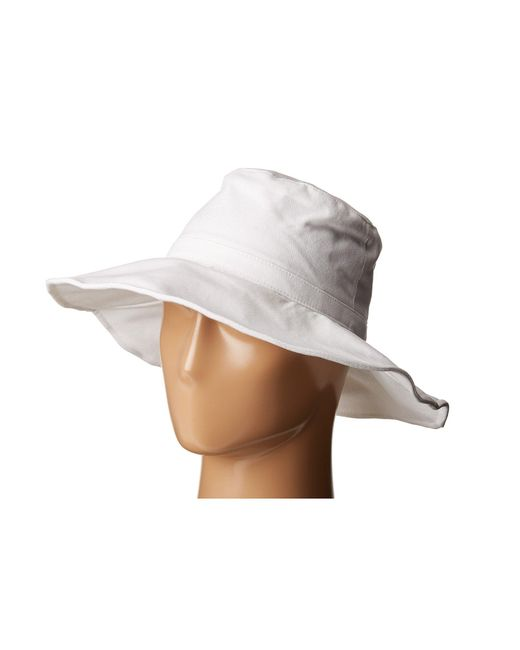 Hat Attack | White Canvas Sunhat With Adjustable Sizing And Wire In Brim | Lyst