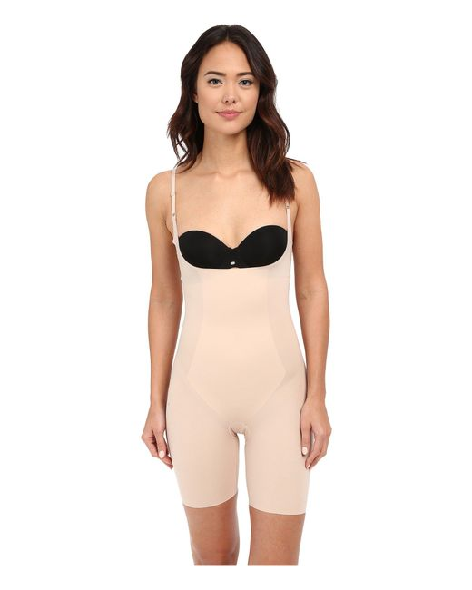 Spanx - Natural Thinstincts(r) Open-bust Mid-thigh Bodysuit (very Black) Women's Jumpsuit & Rompers One Piece - Lyst