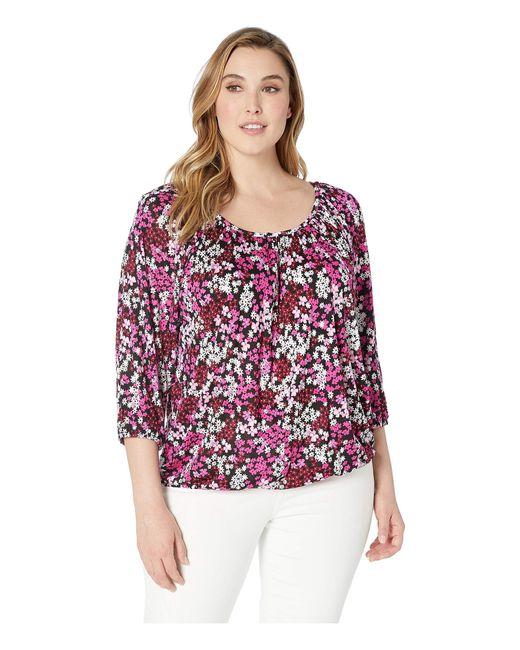 f46a38fa0833e MICHAEL Michael Kors - Pink Plus Size Mod Garden Peasant Top (black ivy) ...