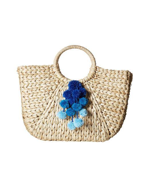 Hat Attack - Multicolor Round Handle Tote W/ Pom Poms (pink) Tote Handbags - Lyst