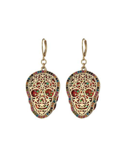 Betsey Johnson | Metallic Gold Skull Drop Earrings | Lyst