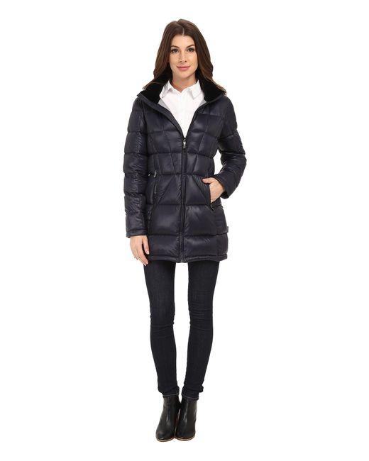 Calvin Klein | Blue Packable Down Walker Coat With Velvet Collar | Lyst
