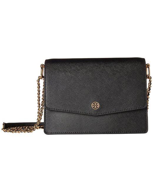 Tory Burch - Robinson Convertible Shoulder Bag (black/royal Navy) Shoulder Handbags - Lyst