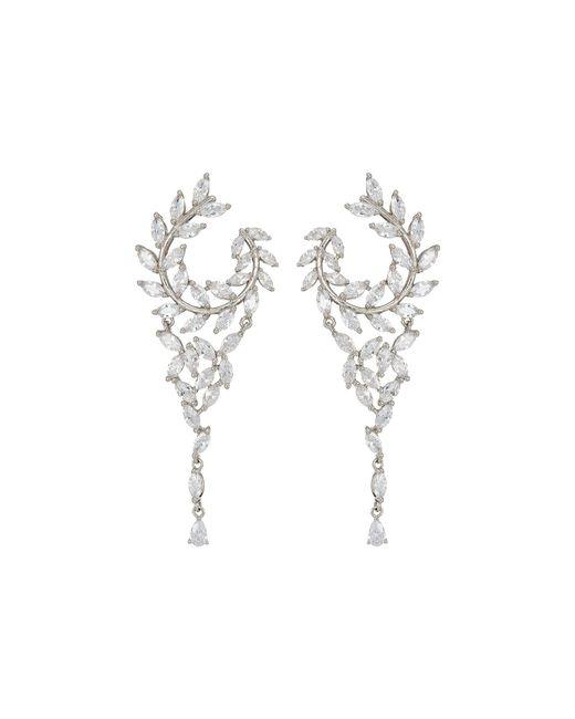 Nina - Multicolor Fern Front/back Chandelier Earrings (rose Gold/white Cz) Earring - Lyst