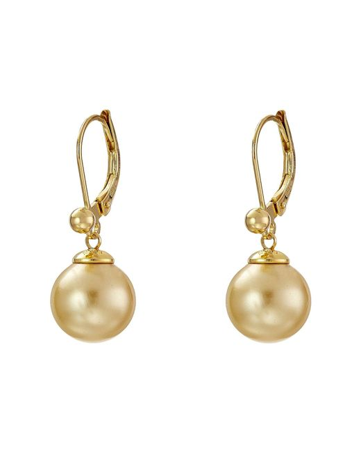 Majorica - Metallic 10mm S.s.w. Drop E/w Earrings (gold/champagne) Earring - Lyst