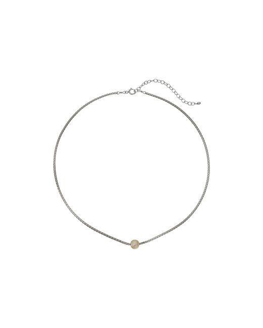 Dogeared | Metallic Silky Box Chain Choker W/ White Pearl Necklace | Lyst