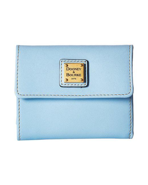 Dooney & Bourke - Blue Emerson Small Flap Credit Card Wallet - Lyst