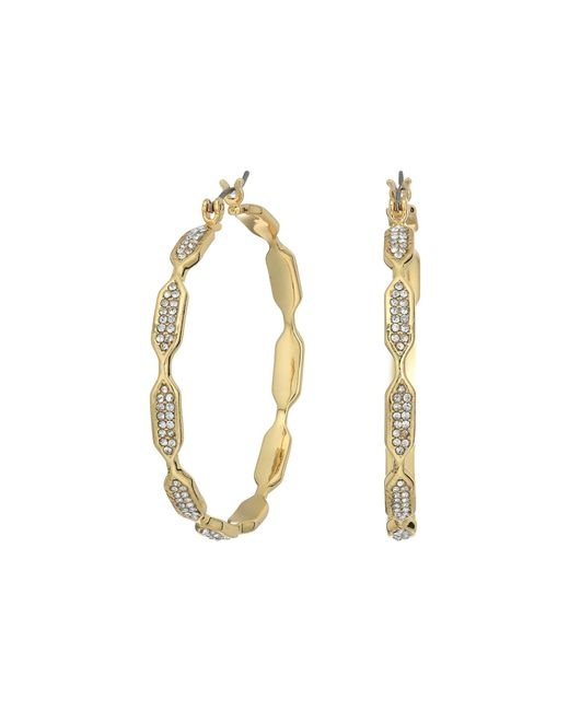 Vince Camuto - Metallic Hidden Details Pave Hoop Earrings - Lyst