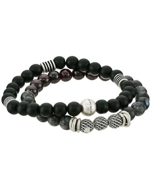 Steve Madden - Textured Ball Duo Bracelet Set (black) Bracelet - Lyst