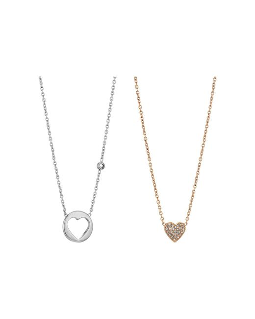 Fossil - Multicolor Gift Set Necklace Of Pave Heart And Open Heart Pendants - Lyst