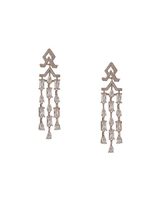 Nina Metallic Mini Cz Chandelier Earrings Rose Gold White Earring