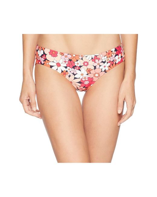 MICHAEL Michael Kors - Pink Cherry Summer Flower Shirred Smooth Fit Cheeky Bikini Bottoms - Lyst