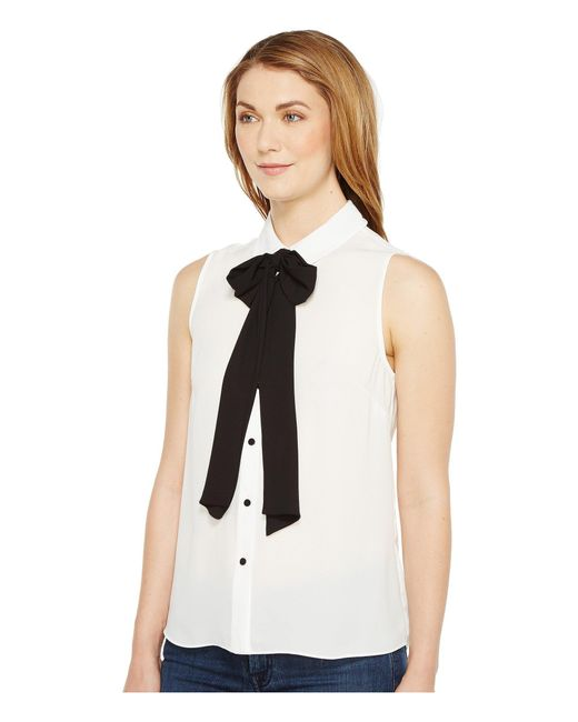 Lyst Cece Sleeveless Collared Blouse W Bowtie New Ivory Women S