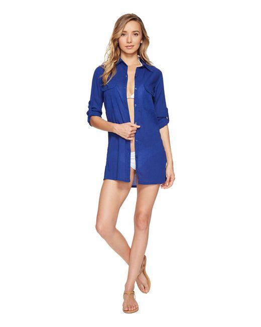 Lauren by Ralph Lauren - Blue Crushed Camp Shirt Cover-up (white) Women's Swimwear - Lyst