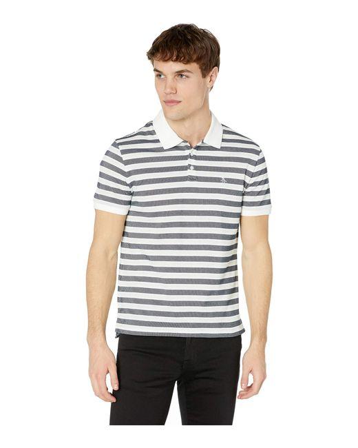 e3be5bf92 Original Penguin - Short Sleeve Pointelle Stripe Polo (pastel Blue) Men's  Clothing for Men ...