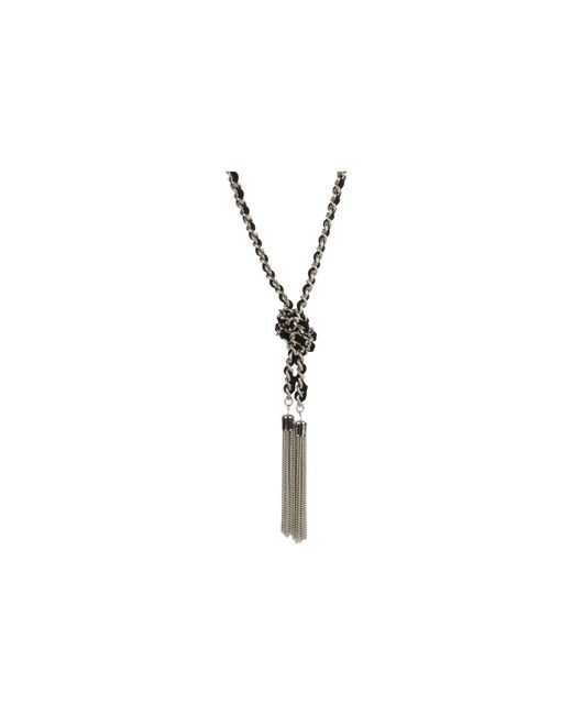 Guess - Metallic Suede Woven Chain Knot Necklace (silver/black) Necklace - Lyst