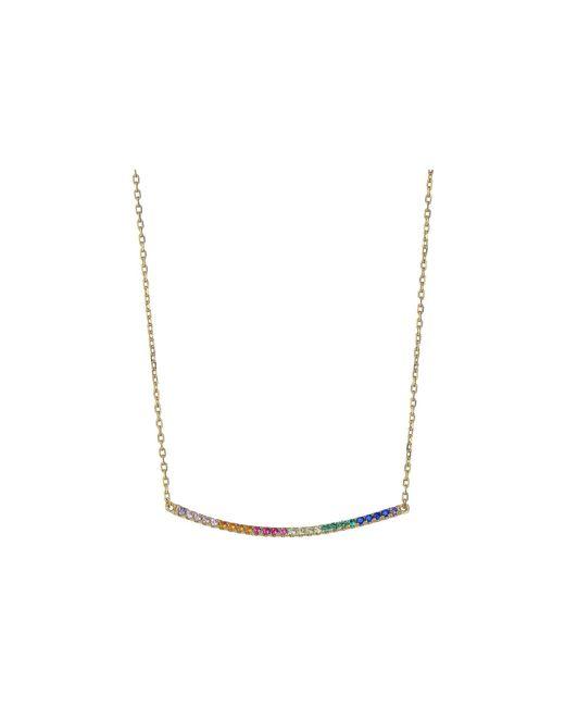 Shashi - Metallic Bar Pave Pendant Necklace (rose Gold/crystal) Necklace - Lyst