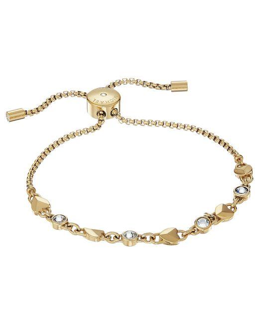 Michael Kors - Metallic Logo Love Heart Crystal Slide Bracelet (rose Gold) Bracelet - Lyst