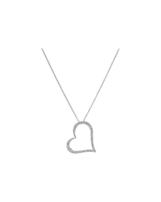 Roberto Coin | Metallic Tiny Treasures 18k White Gold Slanted Open Heart Necklace | Lyst