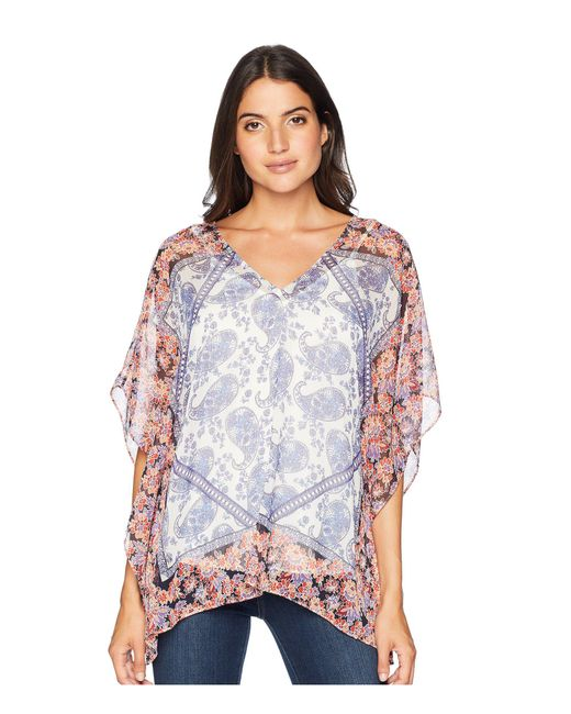 NYDJ - Multicolor Chiffon Caftan Popover (paisley Mosaic Vanilla) Women's Clothing - Lyst