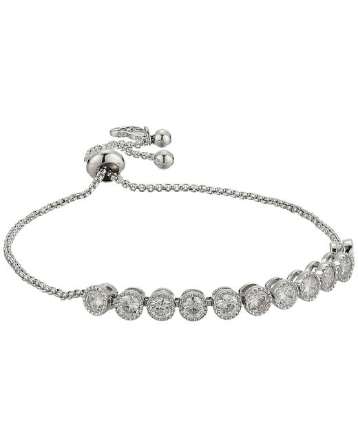 Betsey Johnson - Metallic Blue By Chain Bracelet With Cubic Zirconia Stones And Adjustable Slider - Lyst