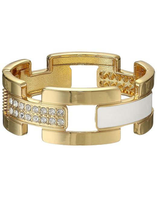 Guess - Metallic Wide Cuff Link Bracelet (gold/white) Bracelet - Lyst