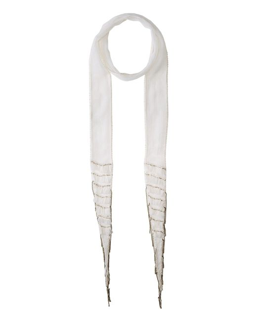 Chan Luu - Viscose Chiffon Skinny Scarf With Layered Fringe (white) Scarves - Lyst