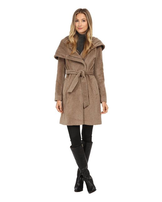 Cole Haan - Brown Belted Coat With Oversized Hood - Lyst