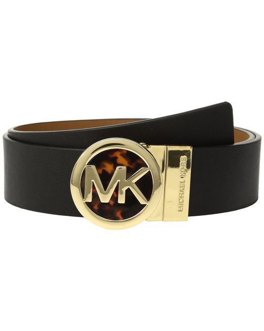 MICHAEL Michael Kors - Smooth Leather Reversible Belt (metallic Gold/black) Women's Belts - Lyst