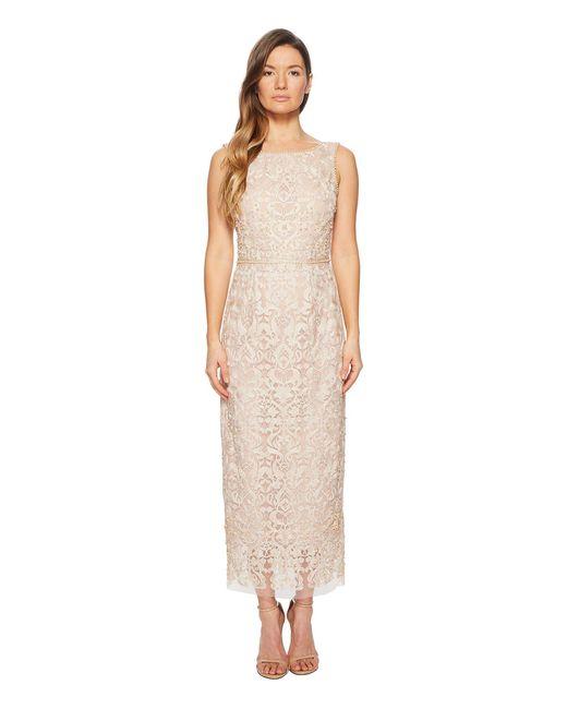 Marchesa notte - Sleeveless Metallic Embroidered Shift W/ Degrade Pearls And Beaded Waistband (blush) Women's Dress - Lyst