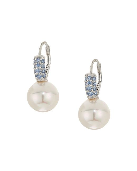 Majorica | White 10mm Pearl Blue Cz Sterling Silver Earrings | Lyst