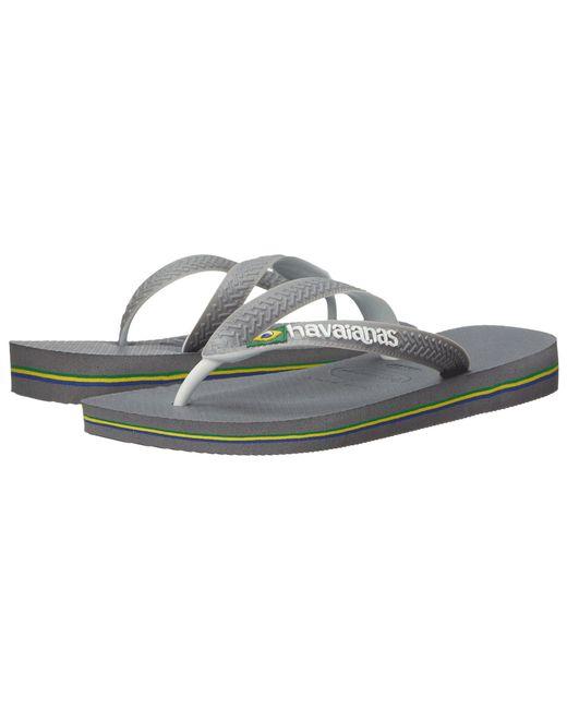Havaianas - Gray Brazil Mix Flip Flops (steel Grey/white/white) Women's Sandals - Lyst