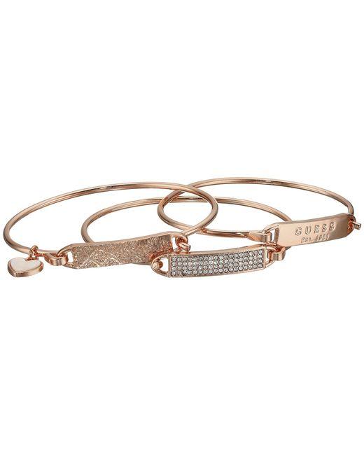 Guess - Metallic Dainty Id Bracelet Trio (silver/crystal) Bracelet - Lyst