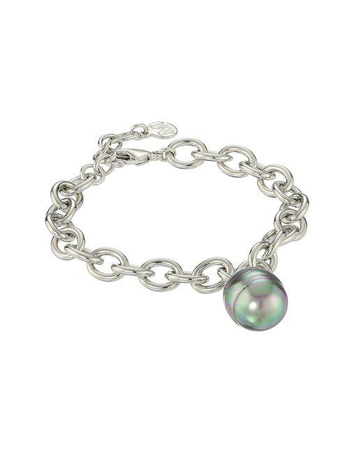 Majorica | Gray Modern Metal Gold Link Bracelet | Lyst