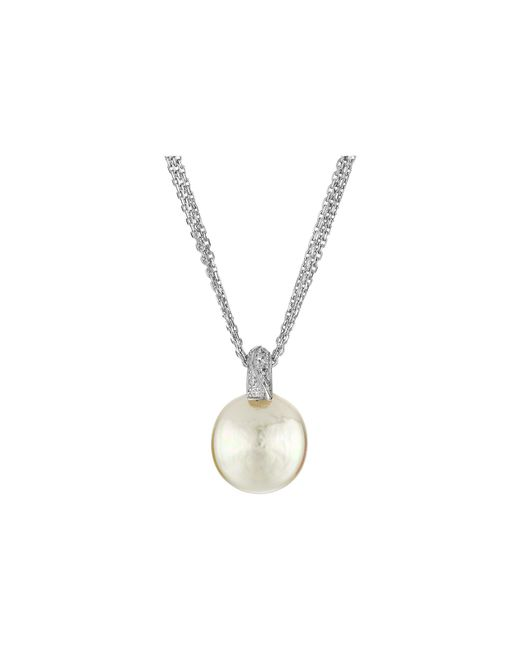 Majorica | Metallic Coin Pearl Pendant Cz Necklace | Lyst