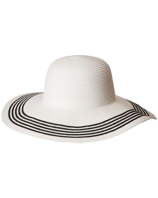 San Diego Hat Company - Pbl3088os Paperbraid Floppy W/ Contrast Stripes On Brim (white/black) Caps - Lyst