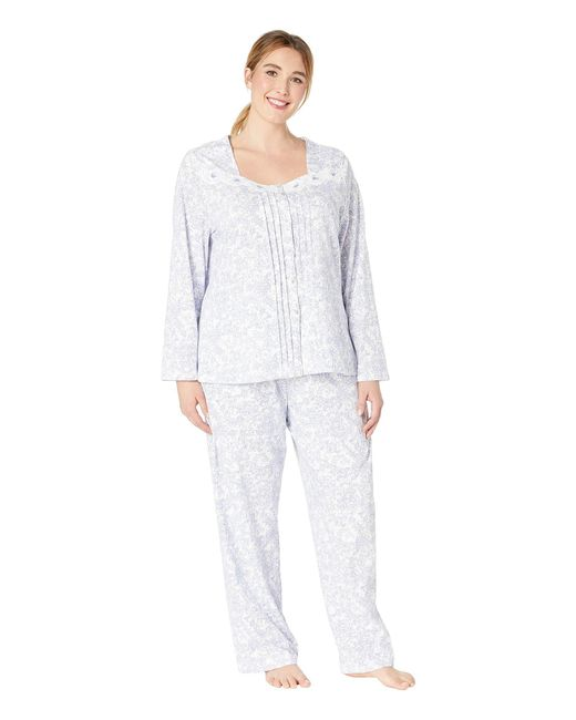 Carole Hochman - Multicolor Plus Size Soft Jersey Long Pajama Set (lilac Vine Floral) Women's Pajama Sets - Lyst