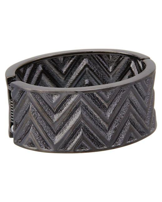 Guess - Metallic Chevron Stripe Wide Stretch Bracelet - Lyst