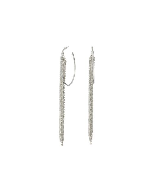 Guess | Multicolor Large Hoop With Chain And Rhinestone Fringe Earrings | Lyst