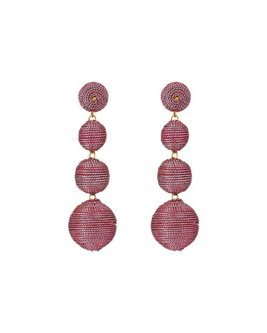 Kenneth Jay Lane - 3 Metallic Pink Thread Small To Large Wrapped Ball Post Earrings W/ Dome Top - Lyst