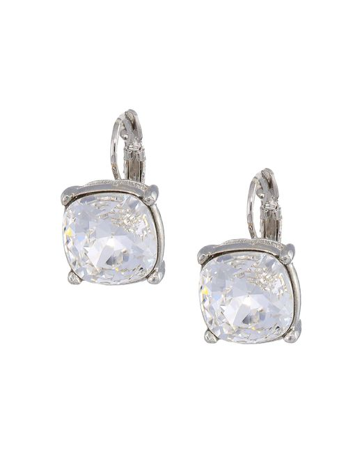 Kenneth Jay Lane - Metallic Silver Eurowire/crystal 12mm Faceted Square Stone Earrings (crystal) Earring - Lyst