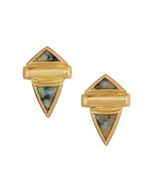 House of Harlow 1960 - Metallic Pyramid Stone Small Earrings - Lyst