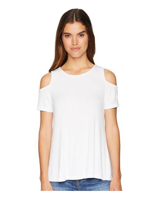 Michael Stars - 2x1 Rib Cold Shoulder Top (white) Women's Clothing - Lyst