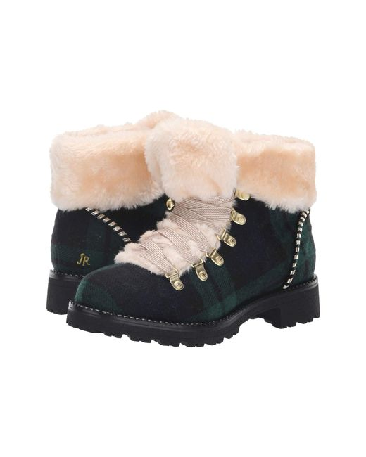 Jack Rogers - Green Women's Charlie Plaid Faux-fur Cold Weather Booties - Lyst