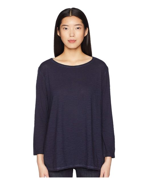 Eileen Fisher - Blue Bateau Neck Tunic (midnight) Women's Long Sleeve Pullover - Lyst
