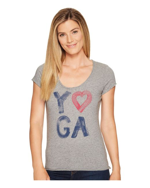 Life Is Good. | Gray Yoga Heart Smooth Tee | Lyst